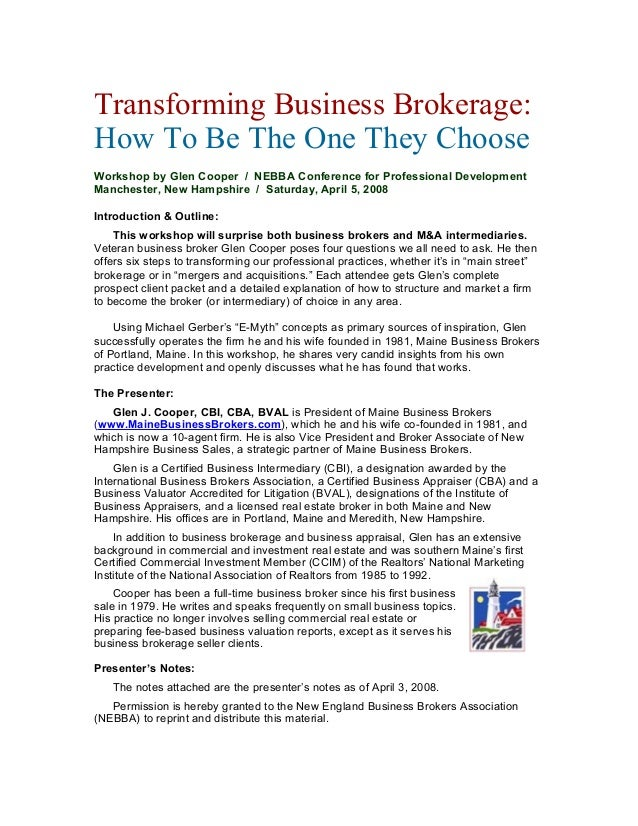 Transforming Business Brokerage: How To Be The One They Choose Workshop by Glen Cooper / NEBBA Conference for Professional...