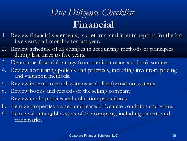 Financial Due Diligence Checklist  BesikEightyCo