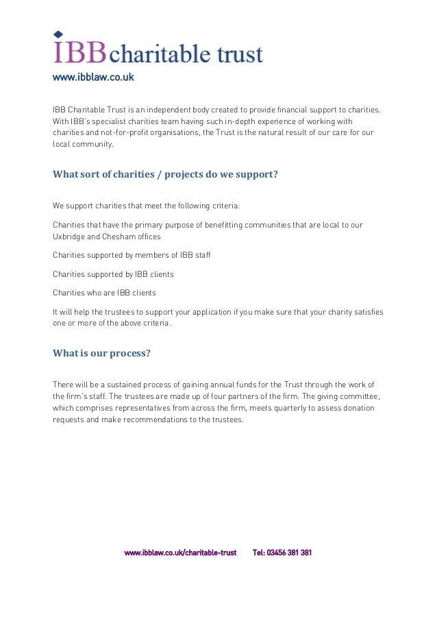 IBB Charitable Trust Application Form 2017