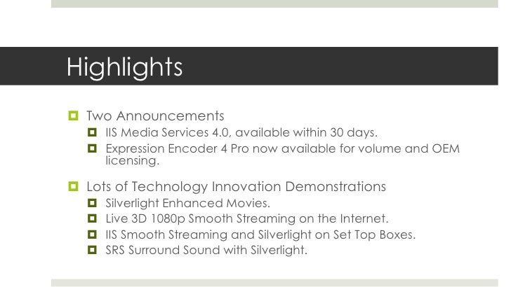 IBC2010 Microsoft Media Platform Booth Demos Slide 2