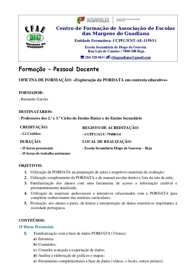 Centro de Formação de Associação de Escolas  das Margens do Guadiana  Entidade Formadora: CCPFC/ENT-AE-1159/11  Escola Sec...