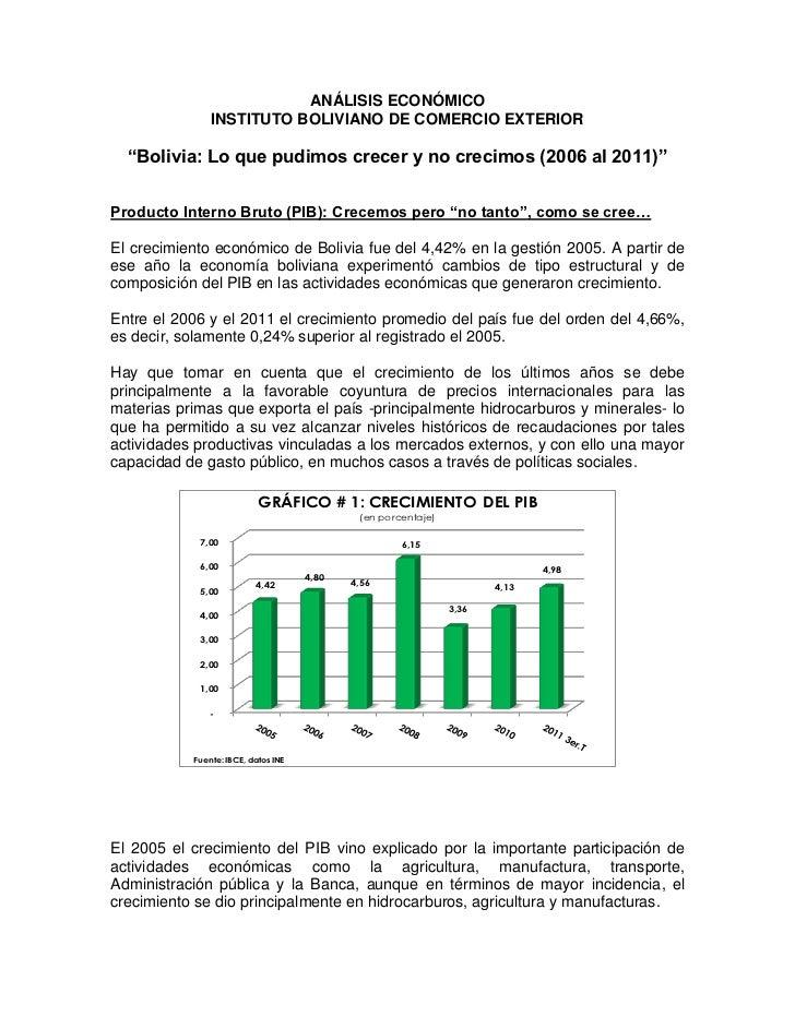 """ANÁLISIS ECONÓMICO               INSTITUTO BOLIVIANO DE COMERCIO EXTERIOR  """"Bolivia: Lo que pudimos crecer y no crecimos (..."""