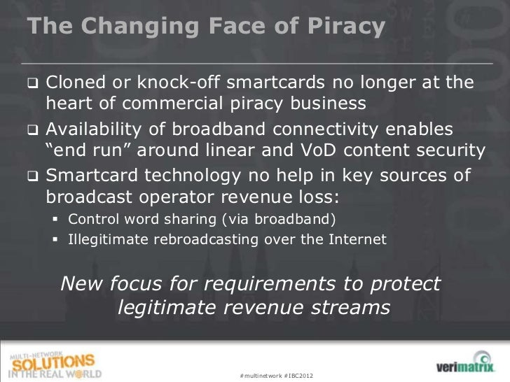 The Changing Face of Piracy Cloned or knock-off smartcards no longer at the  heart of commercial piracy business Availab...