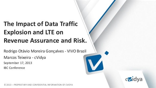 © 2013 – PROPRIETARY AND CONFIDENTIAL INFORMATION OF CVIDYA The Impact of Data Traffic Explosion and LTE on Revenue Assura...