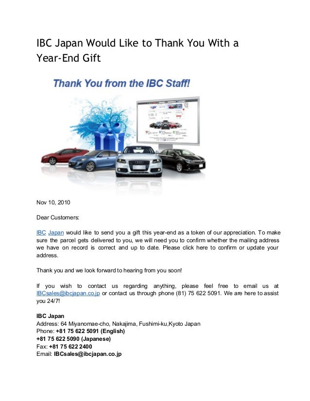IBC Japan Would Like to Thank You With a Year-End Gift  Nov 10, 2010 Dear Customers: IBC  Japan  would  like  to  send  yo...