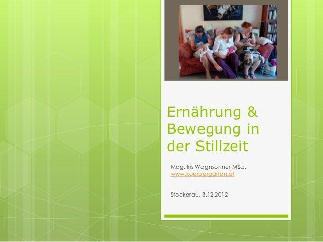 Ernährung &Bewegung inder StillzeitMag. Iris Wagnsonner MSc.,www.koerpergarten.atStockerau, 3.12.2012