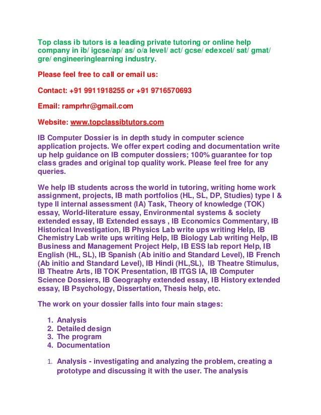 Ib portfolio writing service