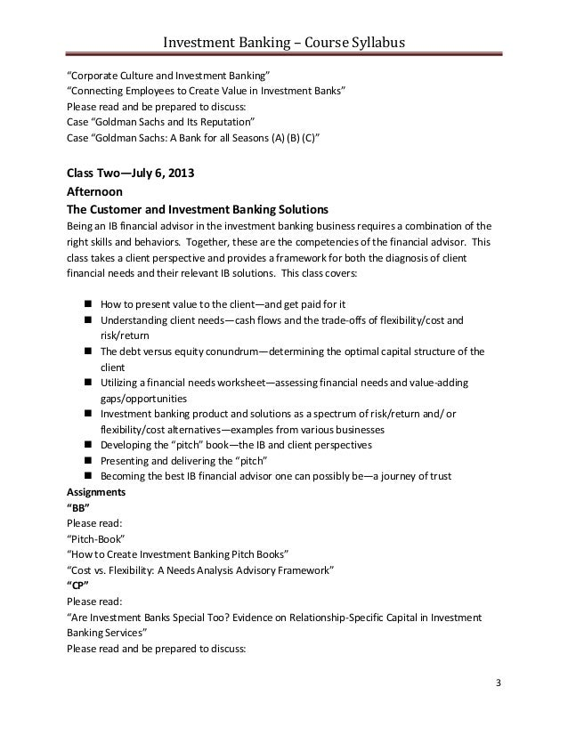investment banking course syllabus nyu summer 2013pdf