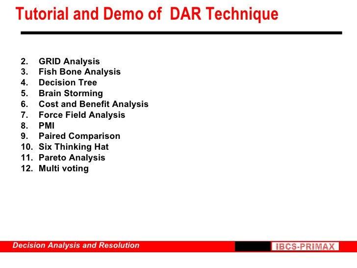 Tutorial and Demo of  DAR Technique <ul><li>GRID Analysis  </li></ul><ul><li>Fish Bone Analysis </li></ul><ul><li>Decision...