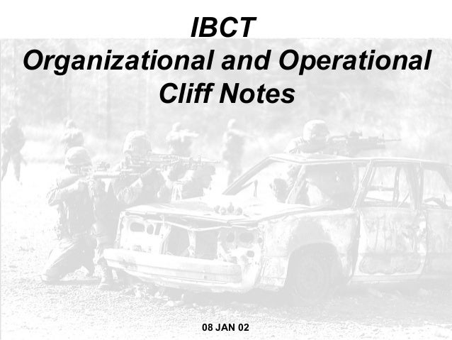 IBCTOrganizational and Operational          Cliff Notes             08 JAN 02 AS OF 08                1