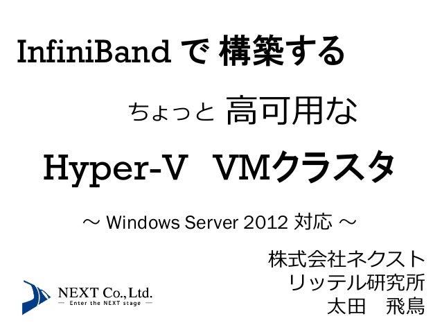 InfiniBand で 構築する       ちょっと     高可用な Hyper-V VMクラスタ   ~ Windows Server 2012 対応 ~                    株式会社ネクスト             ...