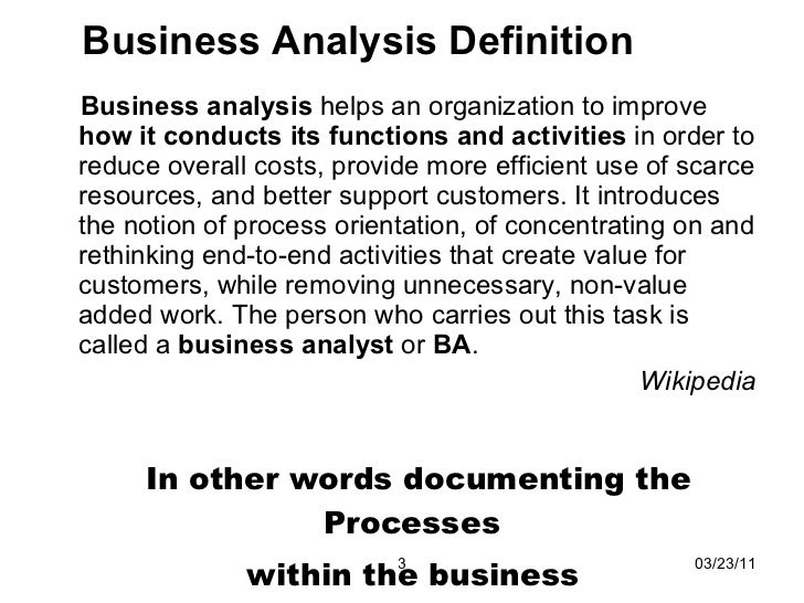 Ibd Business Analysis  Reporting