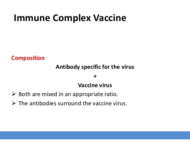 Immune Complex Vaccine Composition Antibody specific for the virus + Vaccine virus  Both are mixed in an appropriate rati...