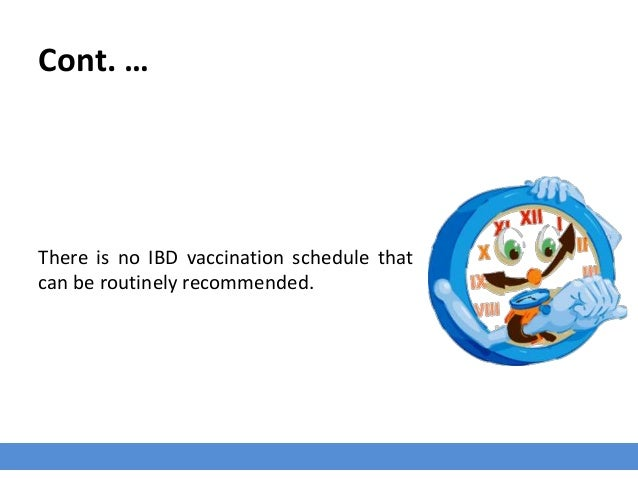 Cont. … There is no IBD vaccination schedule that can be routinely recommended.