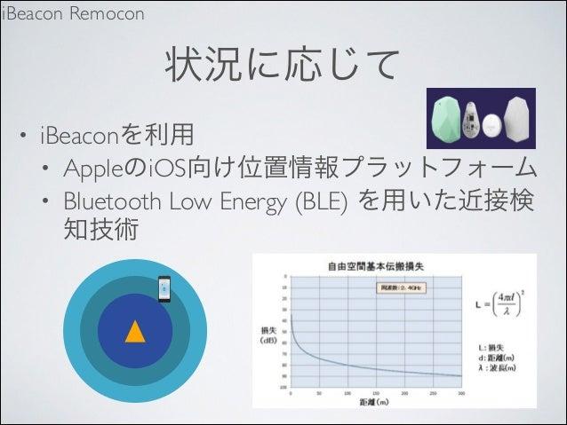 iBeacon Remocon  状況に応じて •  iBeaconを利用  • AppleのiOS向け位置情報プラットフォーム  • Bluetooth Low Energy (BLE) を用いた近接検 知技術