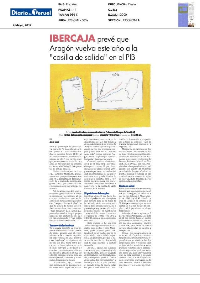 4 mayo 2017 Autora: Marina Montero, alumna del máster de Profesorado Campus de Teruel (UZ) Título: Revista de Economía Ara...