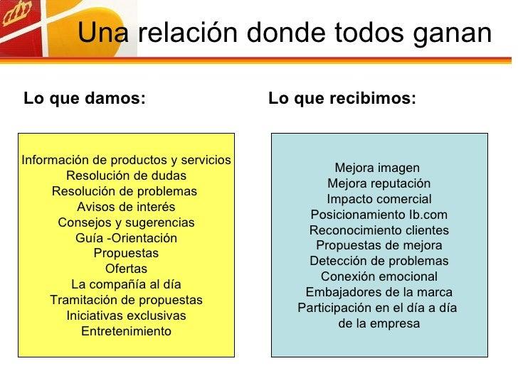 Una relación donde todos ganan Información de productos y servicios Resolución de dudas Resolución de problemas  Avisos de...