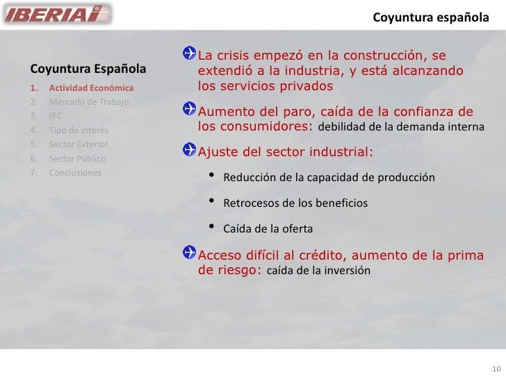 Coyuntura española                             La crisis empezó en la construcción, se                            extendió...