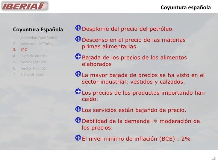 Coyuntura española                              Desplome del precio del petróleo. Coyuntura Española 1.   Actividad Económ...