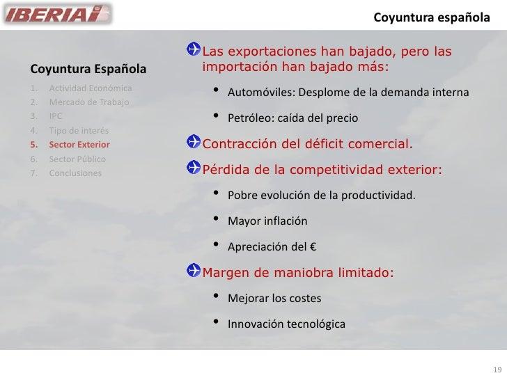 Coyuntura española                             Las exportaciones han bajado, pero las                            importaci...