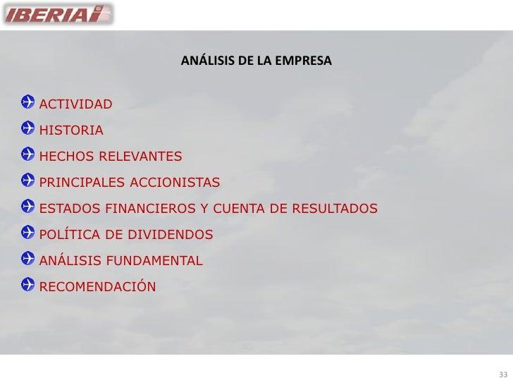 ANÁLISIS DE LA EMPRESA   ACTIVIDAD  HISTORIA  HECHOS RELEVANTES  PRINCIPALES ACCIONISTAS  ESTADOS FINANCIEROS Y CUENTA DE ...