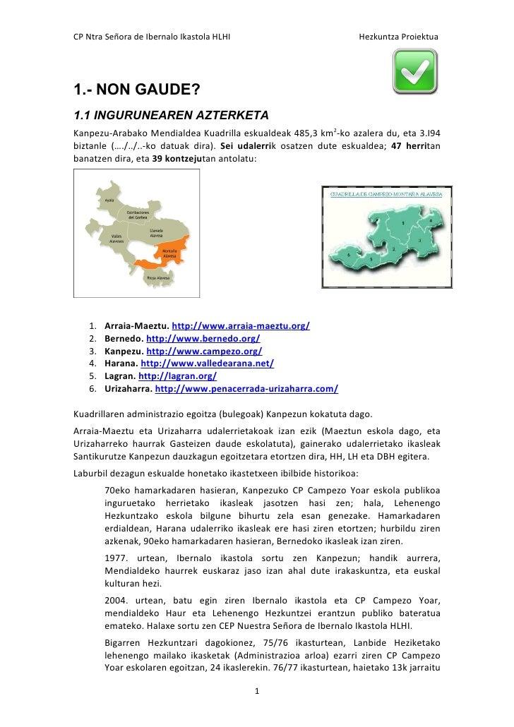 CP Ntra Señora de Ibernalo Ikastola HLHI                              Hezkuntza Proiektua1.- NON GAUDE?1.1 INGURUNEAREN AZ...