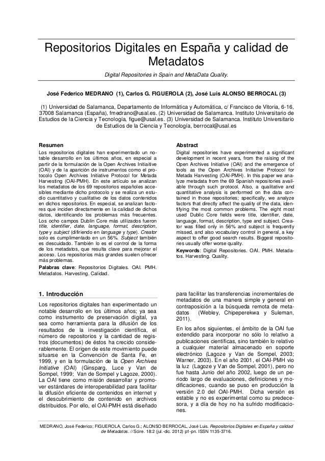 Repositorios Digitales en España y calidad de                      Metadatos                               Digital Reposit...