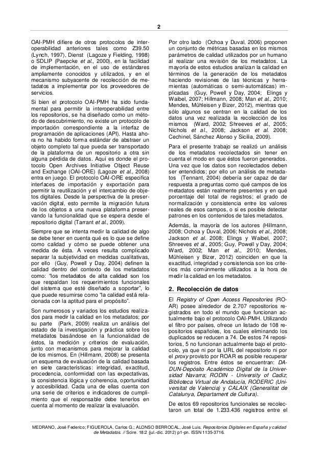 Repositorios Digitales en España y calidad de Metadatos Slide 2