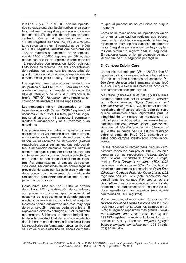 Repositorios Digitales en España y calidad de Metadatos Slide 3