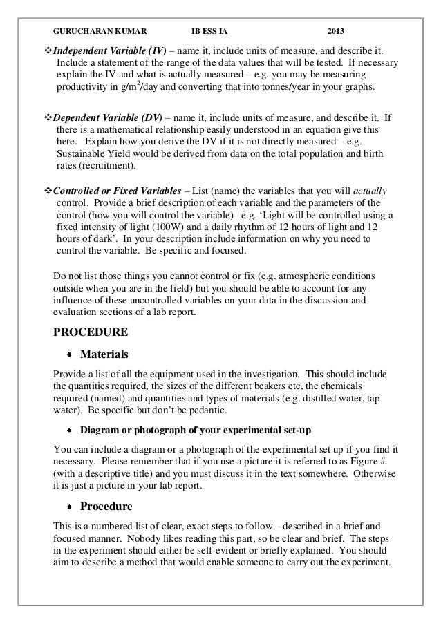 guidelines for lab report Ap biology ap biology formal lab report guidelines prepare a written report of your experiment which includes the section titles listed below these.