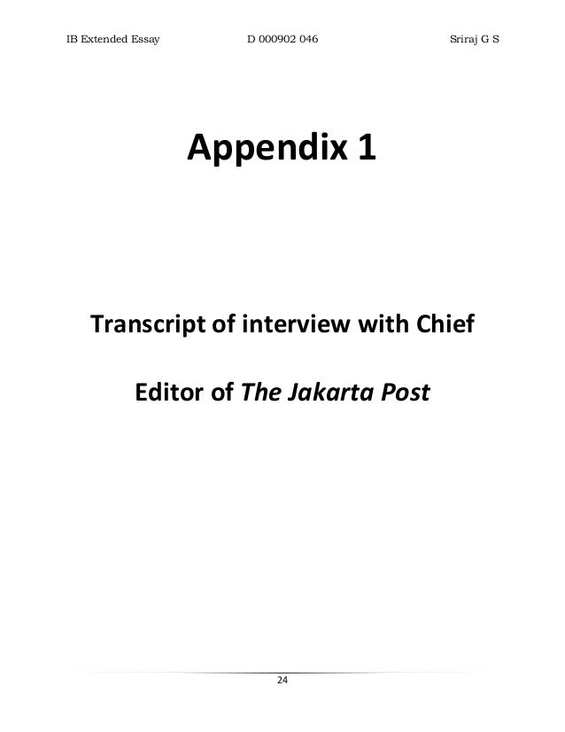 appendices in essays