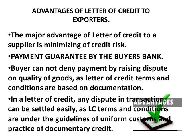 Letter Of Credit Credit Terms Letter Sample Advantages And