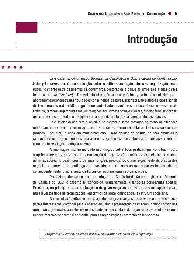 Boas Práticas de Governança e Eficácia na Comunicação 1 1. Boas Práticas de Governança e Eficácia na Comunicação 12 1.1...