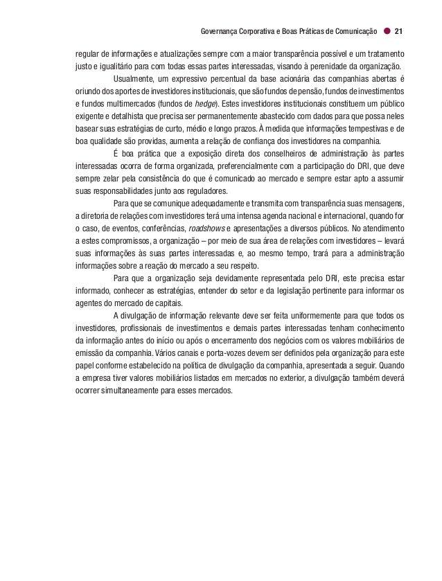 Cadernos de Governança Corporativa   IBGC24 2.8.5 Dilvulgação de Informações sobre Negociações de Administradores e  P...