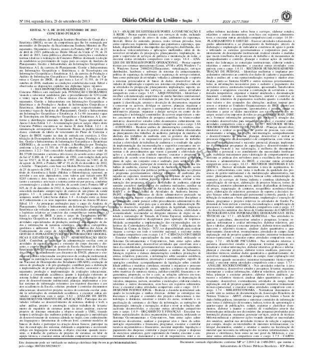 Nº 184, segunda-feira, 23 de setembro de 2013 157ISSN 1677-7069 EXEMPLAR DE ASSINANTE DA IMPRENSA NACIONAL Este documento ...
