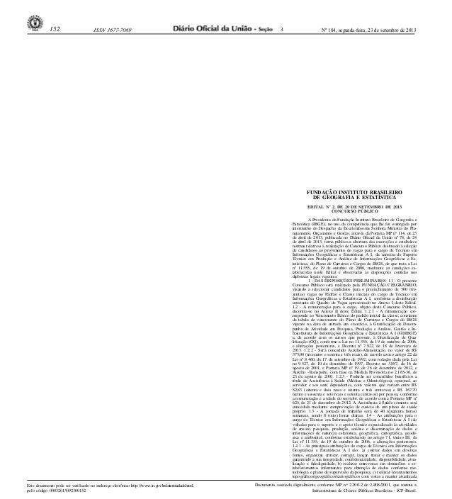 Nº 184, segunda-feira, 23 de setembro de 2013152 ISSN 1677-7069 Este documento pode ser verificado no endereço eletrônico ...