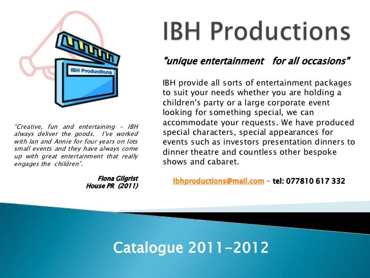 """IBH Productions <br />""""unique entertainment  for all occasions""""<br />IBH provide all sorts of entertainment packages to s..."""