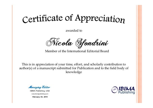 Ibima  Certificate Of Appreciation