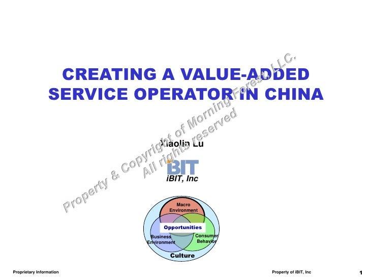 CREATING A VALUE-ADDED                 SERVICE OPERATOR IN CHINA                              Xiaolin Lu                  ...