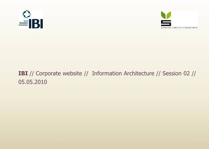 IBI // Corporate website //  Information Architecture // Session 02 // 05.05.2010<br />
