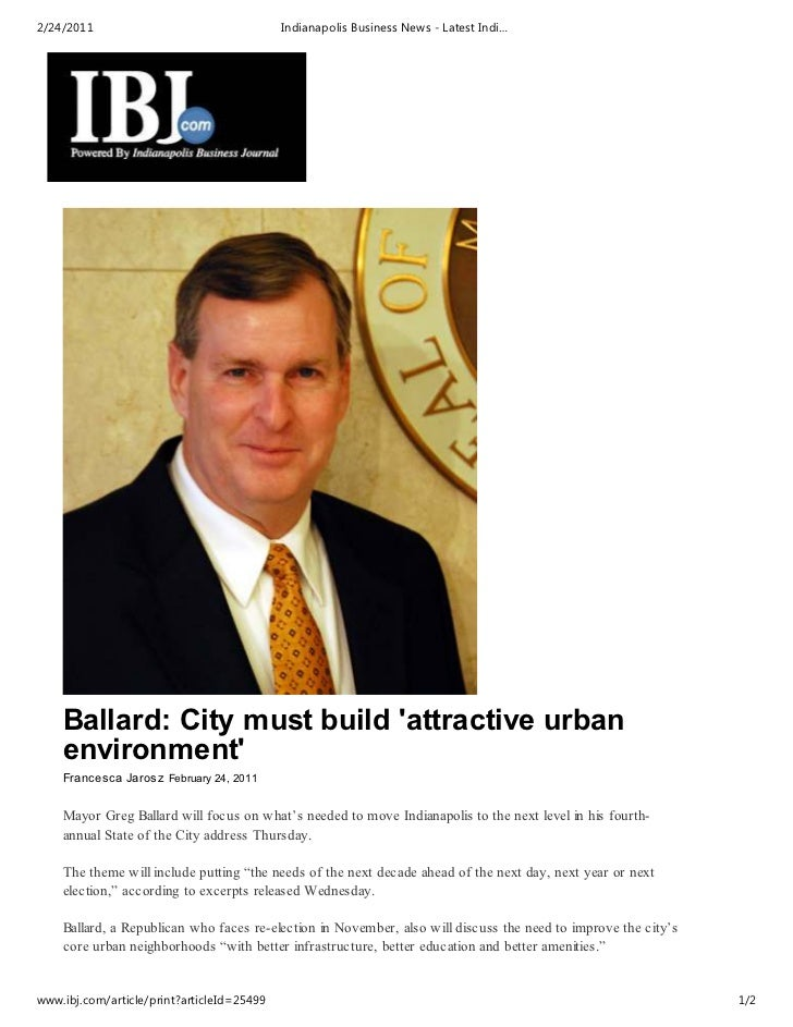 2/24/2011                                   Indianapolis Business News - Latest Indi…    Ballard: City must build attracti...