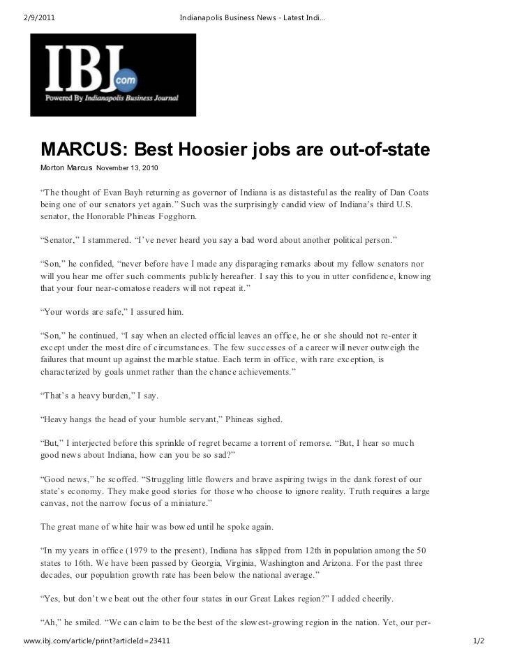 2/9/2011                                    Indianapolis Business News - Latest Indi…    MARCUS: Best Hoosier jobs are out...