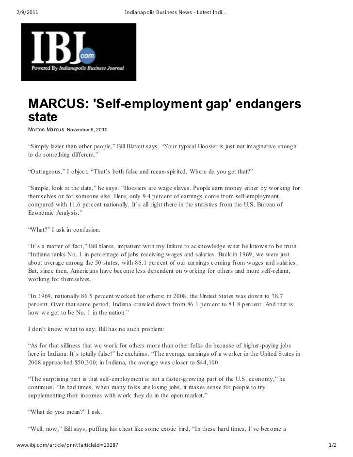 2/9/2011                                    Indianapolis Business News - Latest Indi…    MARCUS: Self-employment gap endan...