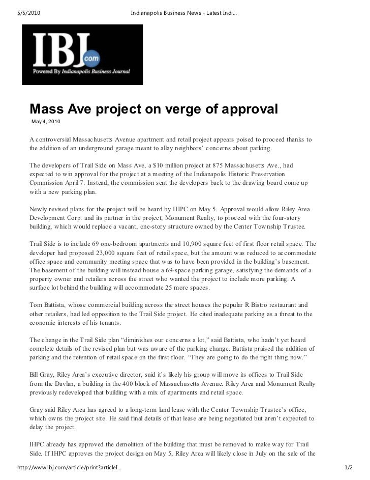 5/5/2010                                     Indianapolis Business News - Latest Indi…    Mass Ave project on verge of app...