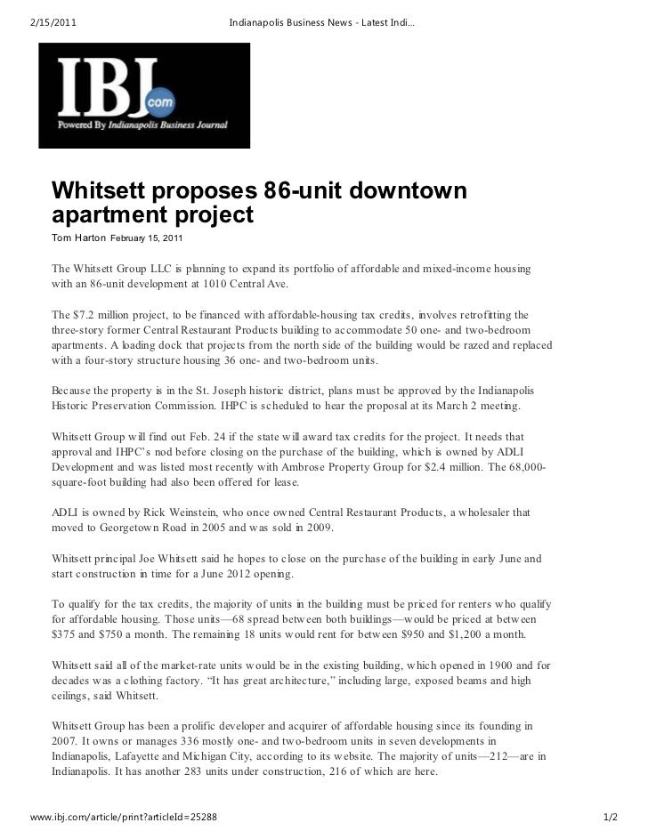 2/15/2011                                   Indianapolis Business News - Latest Indi…    Whitsett proposes 86-unit downtow...