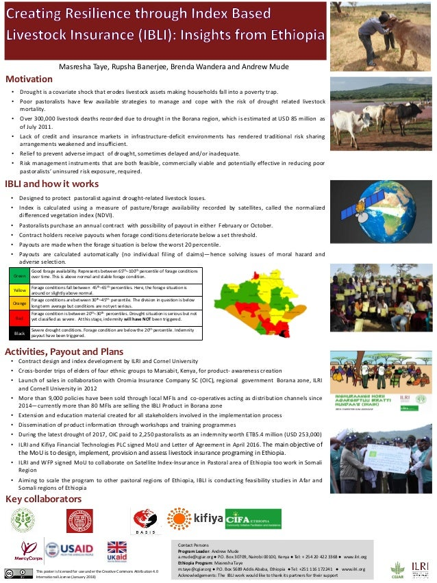 • Contract design and index development by ILRI and Cornel University • Cross-border trips of elders of four ethnic groups...