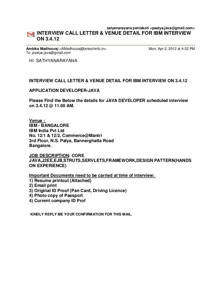 interview call letter template - ibm