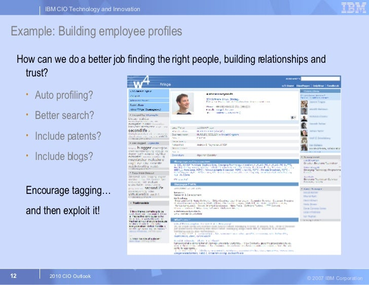 Example: Building employee profiles   <ul><li>How can we do a better job finding the right people, building relationships ...