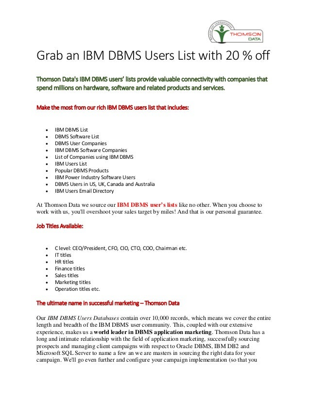 Grab an IBM DBMS Users List with 20 % off
