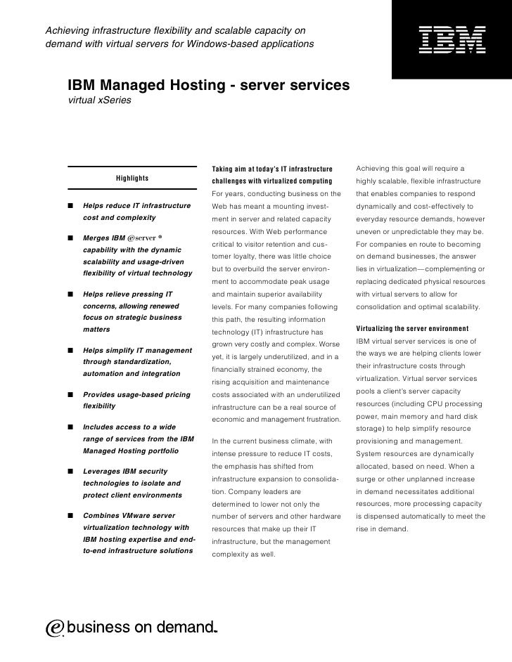 Achieving infrastructure flexibility and scalable capacity on demand with virtual servers for Windows-based applications  ...